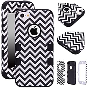 Majesticase iPhone 5c Case - 3 Layers Chevron Waves Full Body Hybrid Armor 360° Shockproof Protection Cover + FREE Stylus in Black