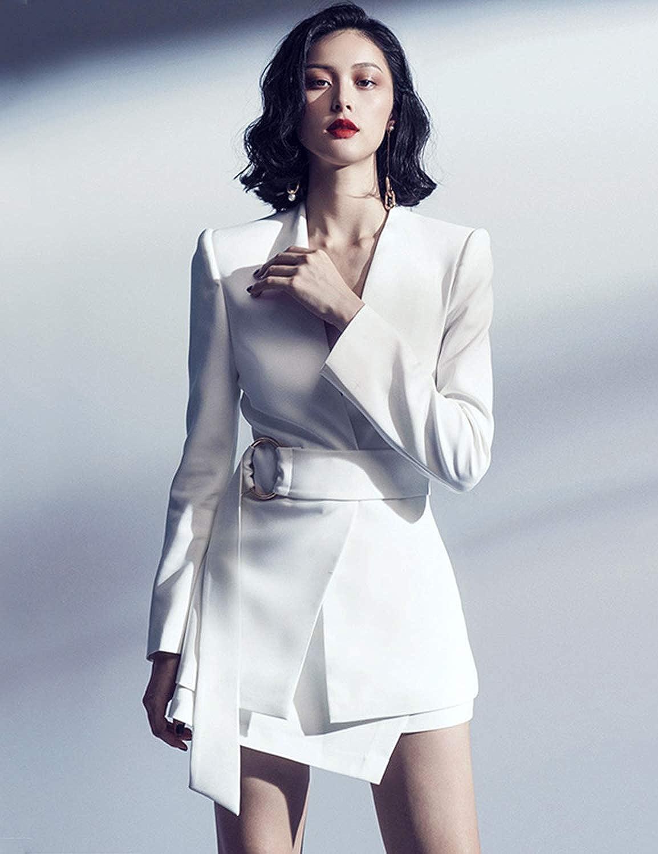 Sunlen V-Neck White Mini OL Elegant Outfits Blazer Dresses 2 Piece Sets for Women SL1BH5762