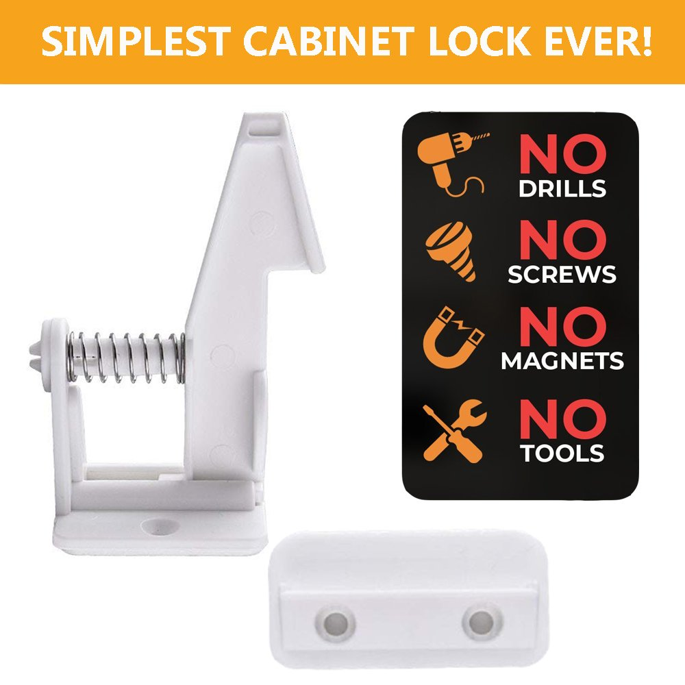 Marsheepy 10 Packs Safety Cabinet Locks,Child Baby Proofing Invisible Cupboard Drawer lcok with self Adhesive (White) by Marsheepy (Image #2)
