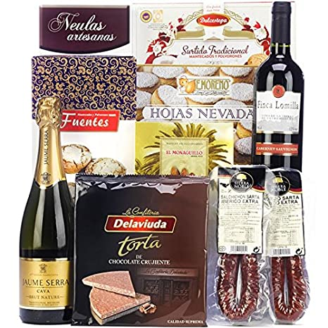 SADIVAL LOTES - Lote De Navidad Con Ibéricos Cava Vino Y Dulces: Amazon.es: Alimentación y bebidas