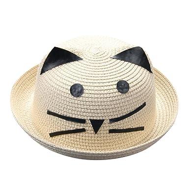 0da917bfc Minshao Baby Hat Children Kids Breathable Cartoon Cat Straw Hat Cap ...