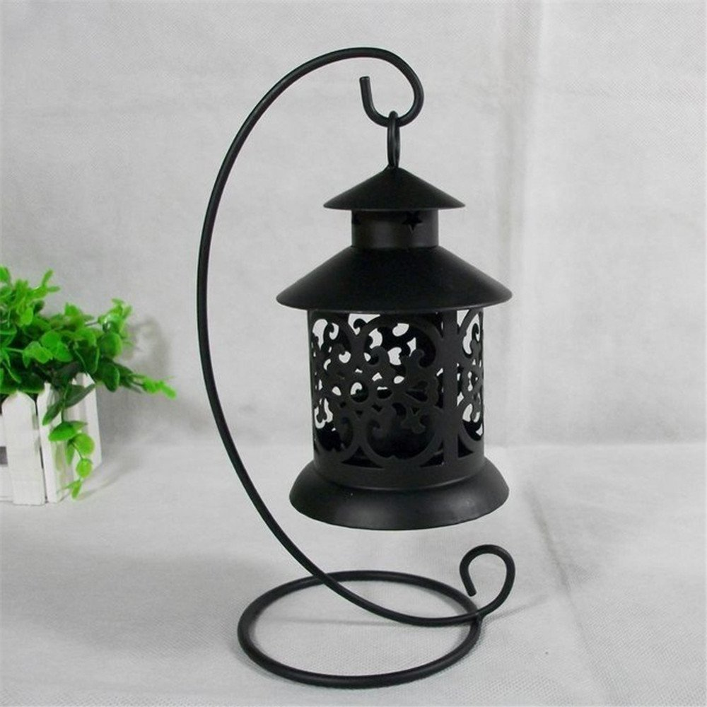 Simonshop European Retro Candle Lanterns Romantic Wedding Hollow Candlestick Iron Candle Holder for Home Decor (Style B-black) COMPANY