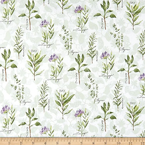 Springs Creative Products Flowering Spaced Herbs Green Fabric by The Yard