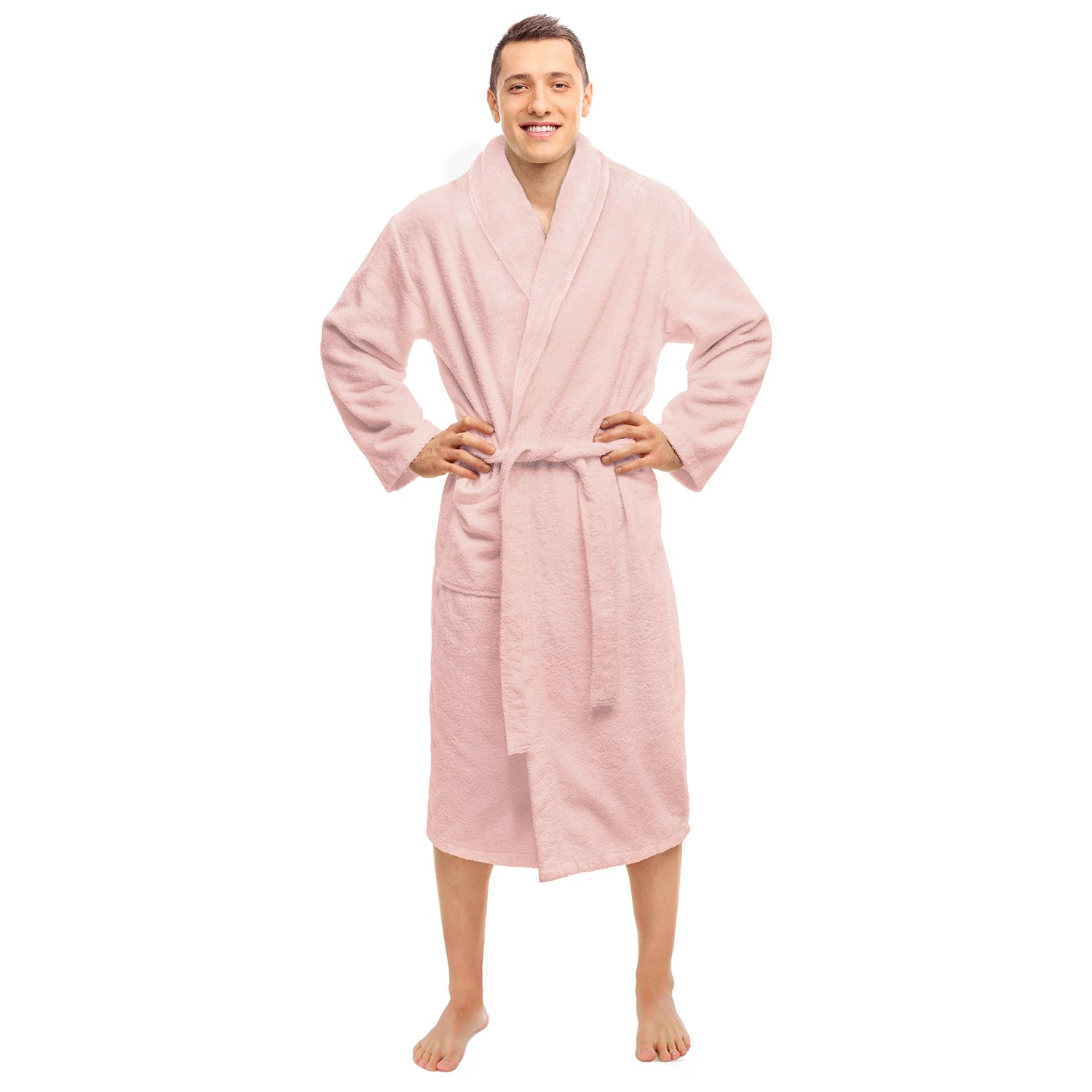 Blue Nile Mills Hotel & Spa Pink Robe, Plush Terry Weave, 100% Premium Long-Staple Combed Cotton, Unisex Bathrobe for Women and Men, Extra Large Size