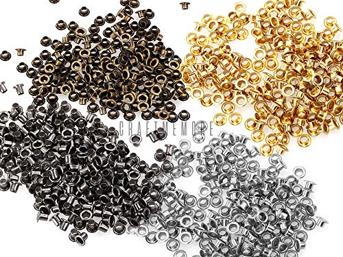 CRAFTMEmore 2MM Hole 200PCS Tiny Grommets Eyelets Self Backing for Bead Cores, Clothes, Leather, Canvas (Silver)