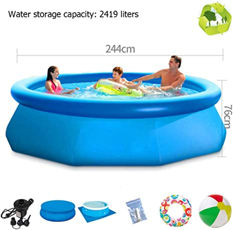 Child Inflatable Swimming Pool Family Large Inflatable Pools Pvc Thicken Portable Paddling Pool Outdoor Round Pool 244cmx76cm Amazon Ca Home Kitchen