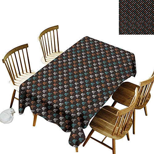 Cranekey Outdoor Rectangular Tablecloth W52 x L70 Pirates Different Colored Graphic Skull Figures with Bones on Black Background Halloween Multicolor Great for Coffee More -