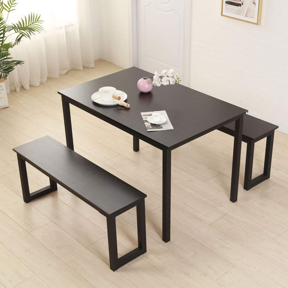 Cypressshop Dining Set Kitchen Table Long Chairs Benches Iron Frame Home Breakfast Lunch Dinner Eating Furniture Set of 3 Pieces Meeting Room Home Furniture