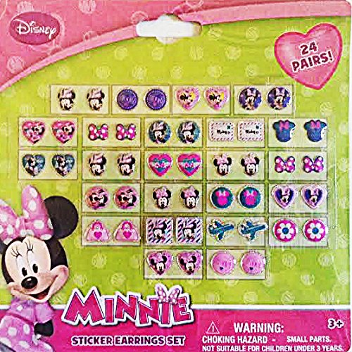 Minnie Mouse Sticker Earrings Set (24 Pairs)