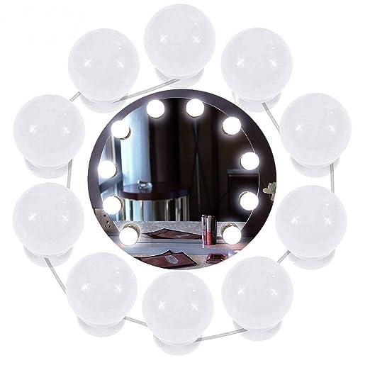 Cozywind Luces de Espejo de Tocador LED Kit con 10 Bombillas Regulables, Estilo Hollywood Tira