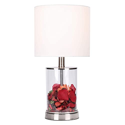 CO-Z Fillable Table Lamp with Clear Glass and Steel Base, 18 Modern Desk Lamp, Accent Lamp, UL Certificate.