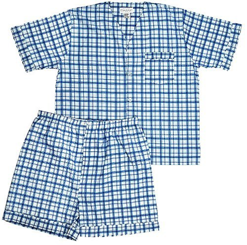 Men's Woven Pajama V-Neck Sleepwear Short Sleeve Shorts and Top Set, Sizes S/4XL -Blue Plaids - Large by Comfort Zone