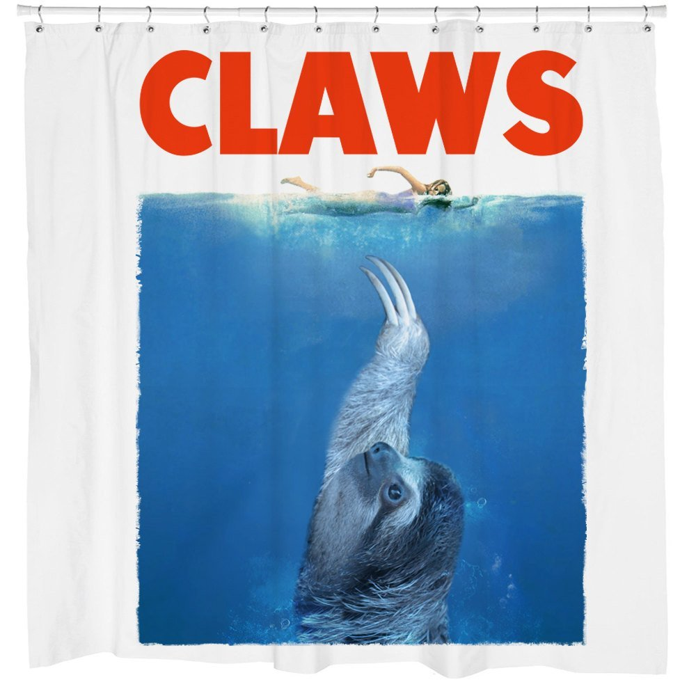 Sloth Shower Curtain, Movie Poster, JAWS, Fun Bathroom Decor, White Fabric, Hooks Included
