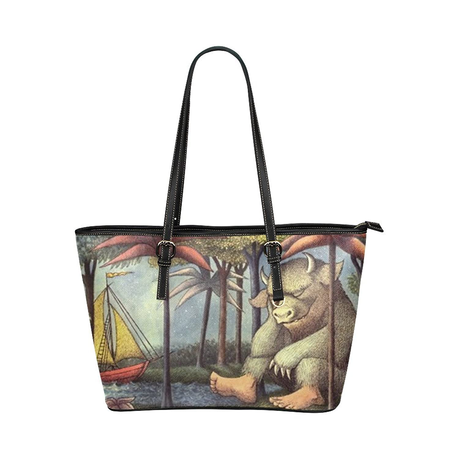 Where the Wild Things Are Women's Leather Tote Large Bag/Handbag/Shoulder Bag By Boom~Shakalaka