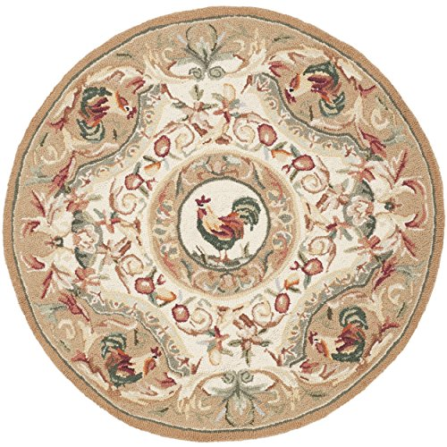 Safavieh Chelsea Collection HK48T Hand-Hooked Taupe Premium Wool Round Area Rug (4' Diameter)