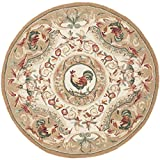 Safavieh Chelsea Collection HK48T Hand-Hooked Taupe Wool Round Area Rug, 4-Feet in Diameter