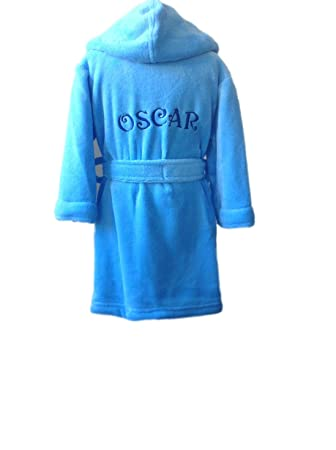 kids dressing gown personalised (2-3 years, Blue - with out dots ...