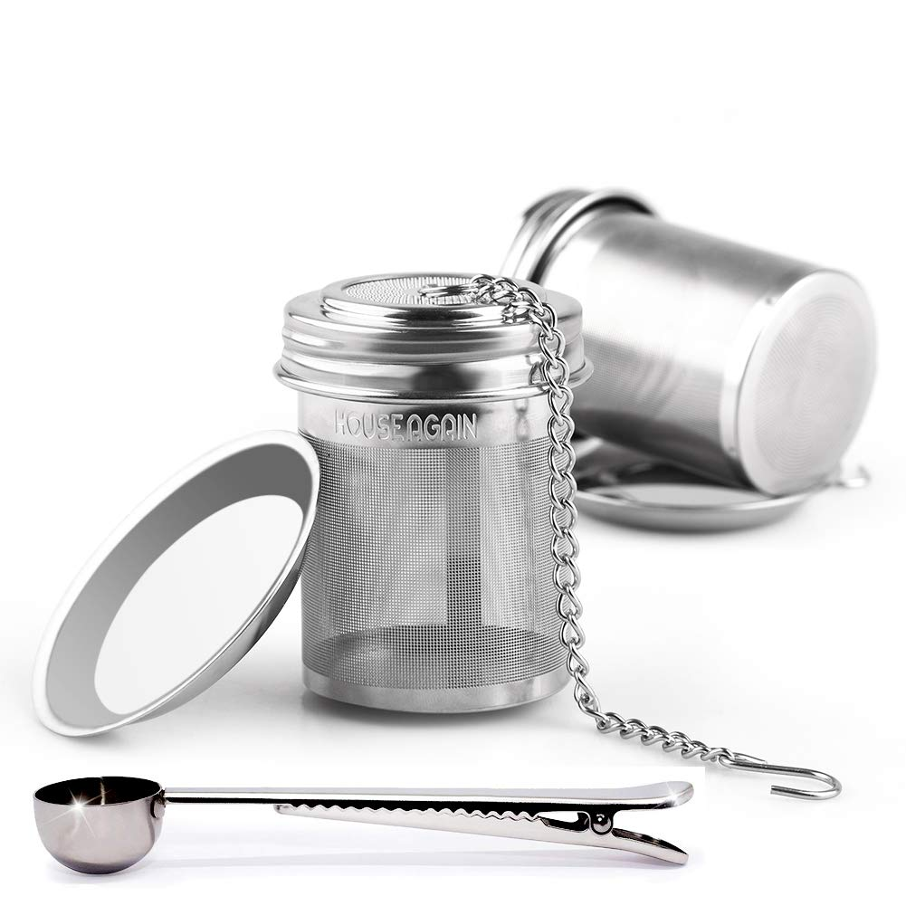 HOUSE AGAIN Tea Ball Infuser & Cooking Infuser, Extra Fine Mesh Tea Infuser Threaded Connection 18/8 Stainless Steel with Extended Chain Hook to Brew Loose Leaf Tea, Spices & Seasonings 14-02-0002