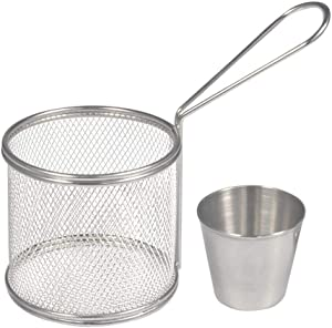 Stronerliou Fry Baskets, Mini Round Stainless Steel French Fries Mesh Fryer Basket Holder Cooking Tool(4 pcs)