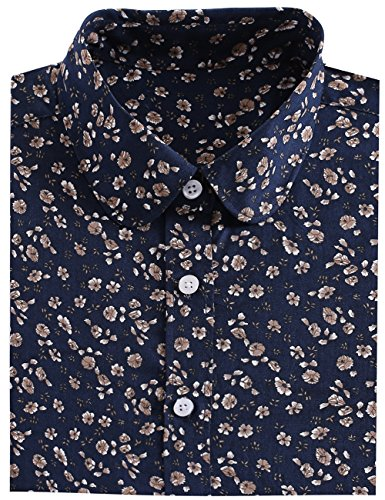 SPAREE Women's Tops Casual Blouses Long Sleeve Work Button Up Dress Shirts,Hibiscus Navy Blue White,L