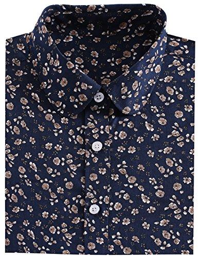 Button Cuff Print Blouse - DOKKIA Women's Tops Tropical Casual Blouses Long Sleeve Work Button Up Dress Beach Aloha Hawaiian Shirts (Small, Navy Blue Hibiscus)