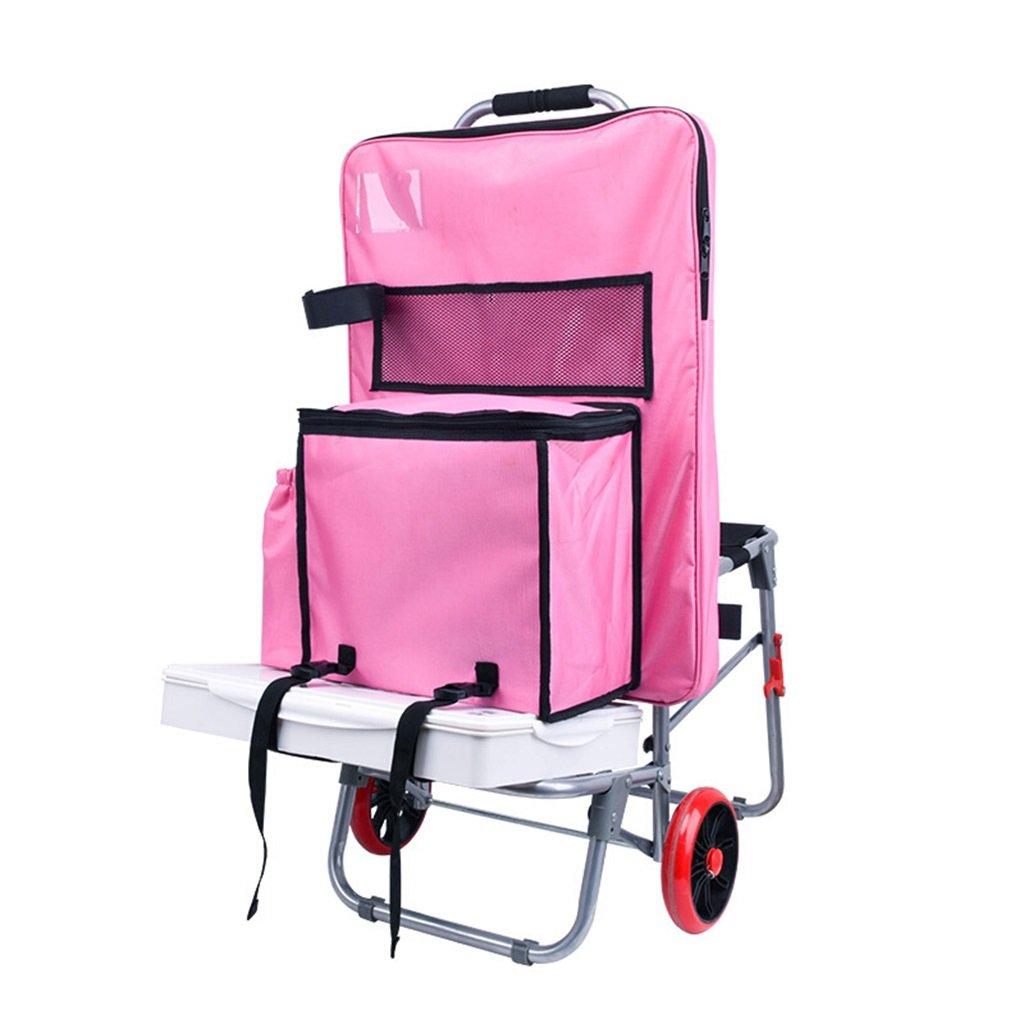 ペイントツールカート/スケッチャー多機能絵画車/スチールパイプアートプルロッド車/折りたたみ式階段カートアートテストトローリー/シートペインティングバッグカー 丈夫で持ち運びやすい (色 : Pink) B07FB86V8F Pink Pink