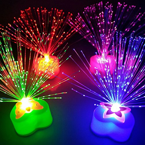 Fiber Optic Lamp Fountain,Color Changing Lamp AG10 Button Battery, Gift Birthday Wedding Christmas,Halloween Valentine's Day Dinner Party Decoration(Random Color)