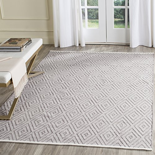 Safavieh Montauk Collection MTK811A Handmade Flatweave Grey and Ivory Cotton Area Rug (2'3