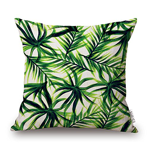 Elviros Linen Cotton Blend Decorative Cushion Cover Throw Pillow Case 18X18 Inch Green Leaves