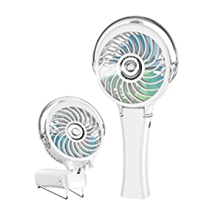 HandFan Handheld Misting Fan with 7 Colorful LED Nightlights Portable Mister Fan 180° Foldable Battery Operated Personal Mist Fan Rechargeable Water Spray Fan for Party Travel Indoors (White)
