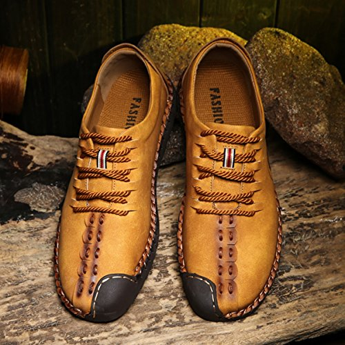 Suede Casual Shoes, Tezoo Men's British Style Handmade Classic Leather Oxford Flats Shoes, Casual Shoes, Lace-up Loafers, Flats Sneakers