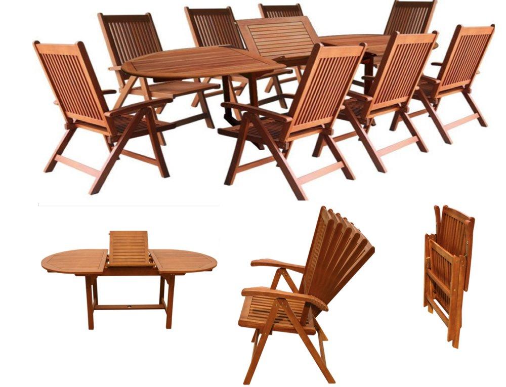 Gartengarnitur Sitzgruppen Gartenmöbel Set Holz Akazie 9tlg. Tisch ...