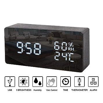 Reloj digital madera,Reloj Despertador Digital de Madera Comando de voz Despertador LED Cubo 4