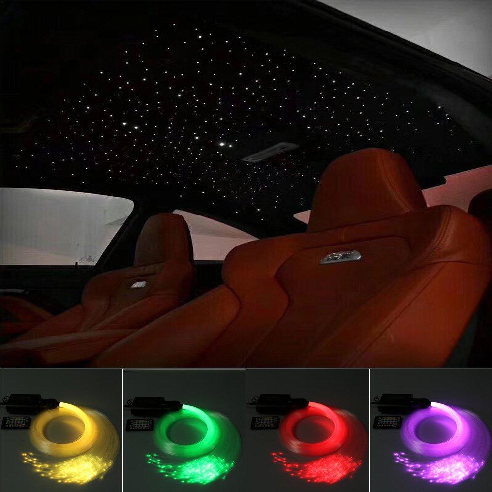 Car Use 16W LED Fiber Optic Star Ceiling Kit RGBW Light, 28 Keys Remote Sound Sensor Musical Lighting 0.03in/0.75mm 0.04in/1mm 0.06in/1.5mm 9.8ft/3m Long 430PCs