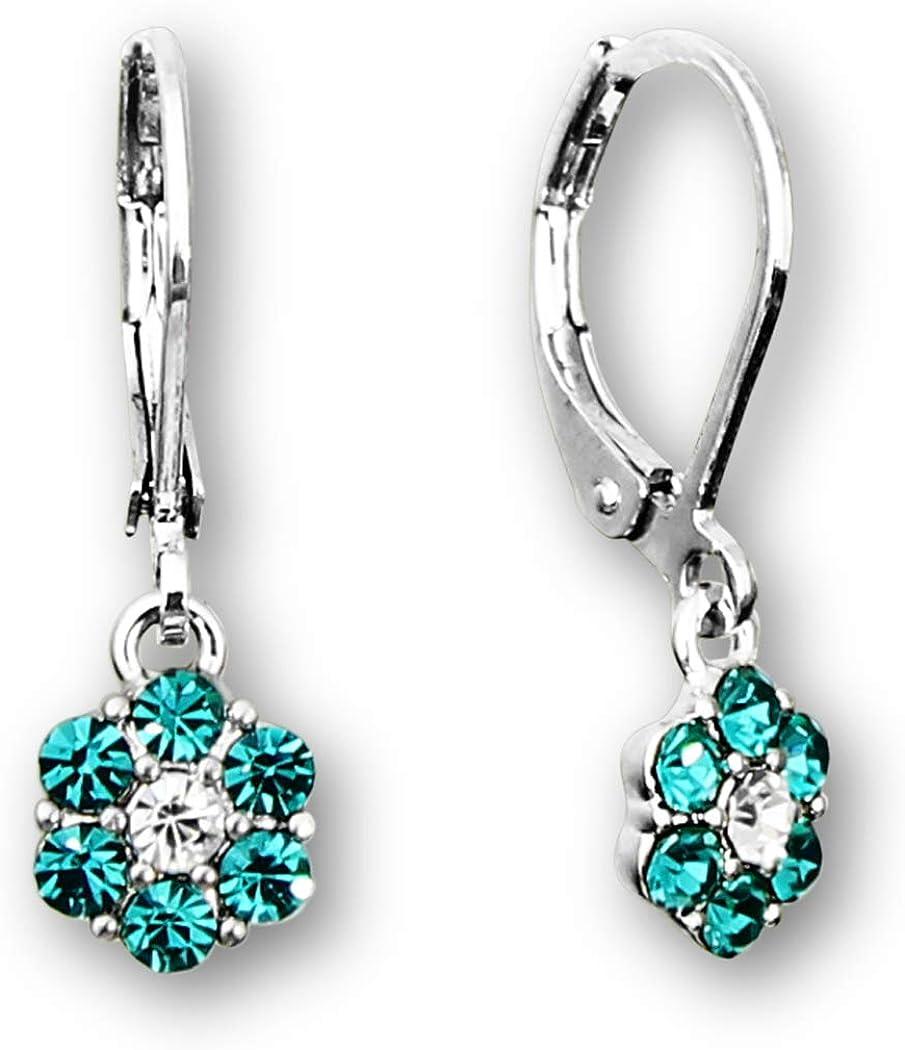 Flower Drop Earrings OR Earring Sets Flower Earrings PLUS Silver and Pink Heart Studs OR Heart Hoop Earrings For Sensitive Ears Crystal Flower Earrings