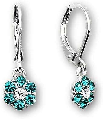 925 Sterling Silver 3 Tone Rhodium Love Flowers Hooks Earrings For Girls /& Women