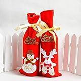 Bolsa de Vino de Punto de Navidad Papá Noel Cubierta Botella Bolsas de mesa de Navidad