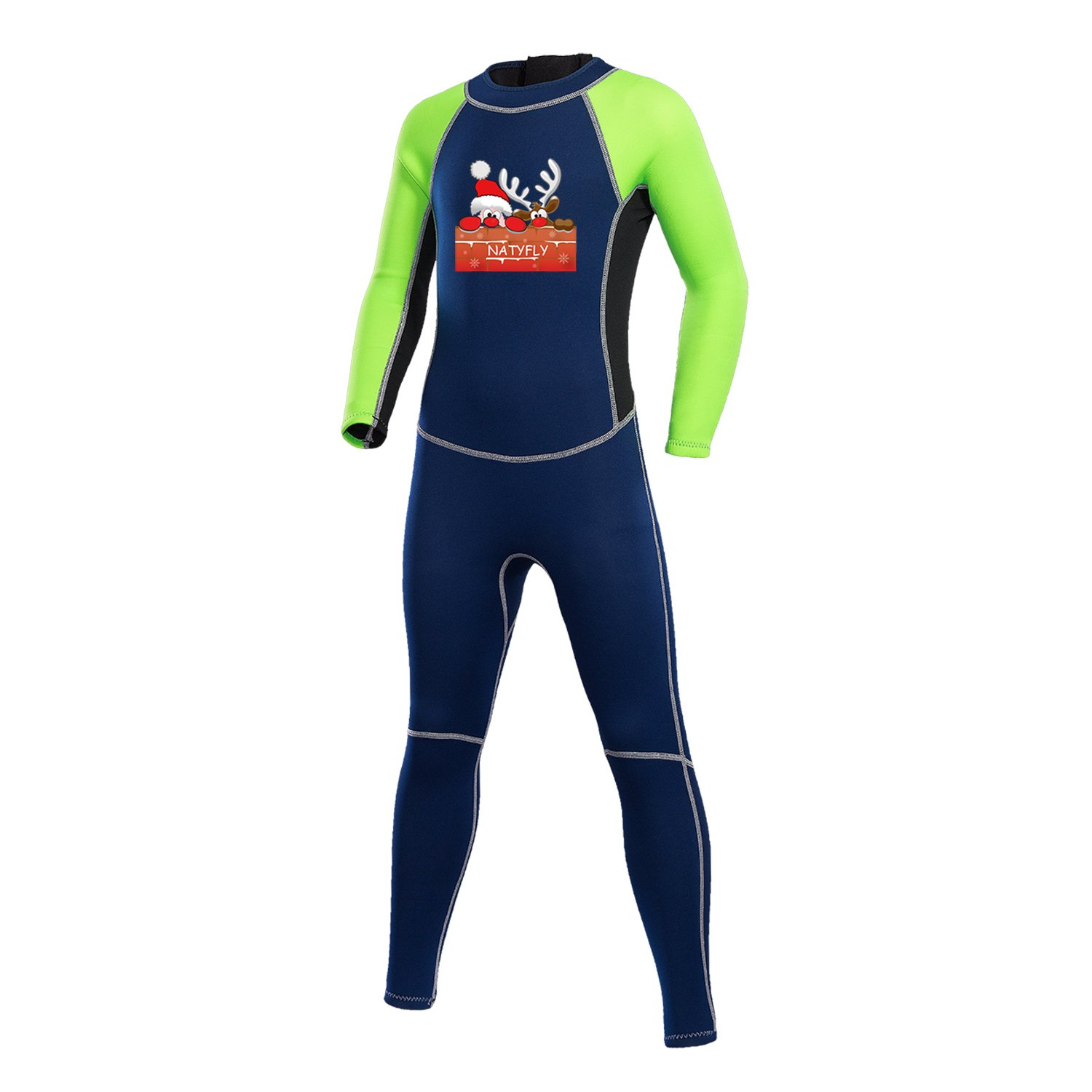 NATYFLY Neoprene Wetsuits for Kids Boys Girls Back Zipper One Piece Swimsuit UV Protection-Brand (Green-2MM, L-for Height 47''-52'')