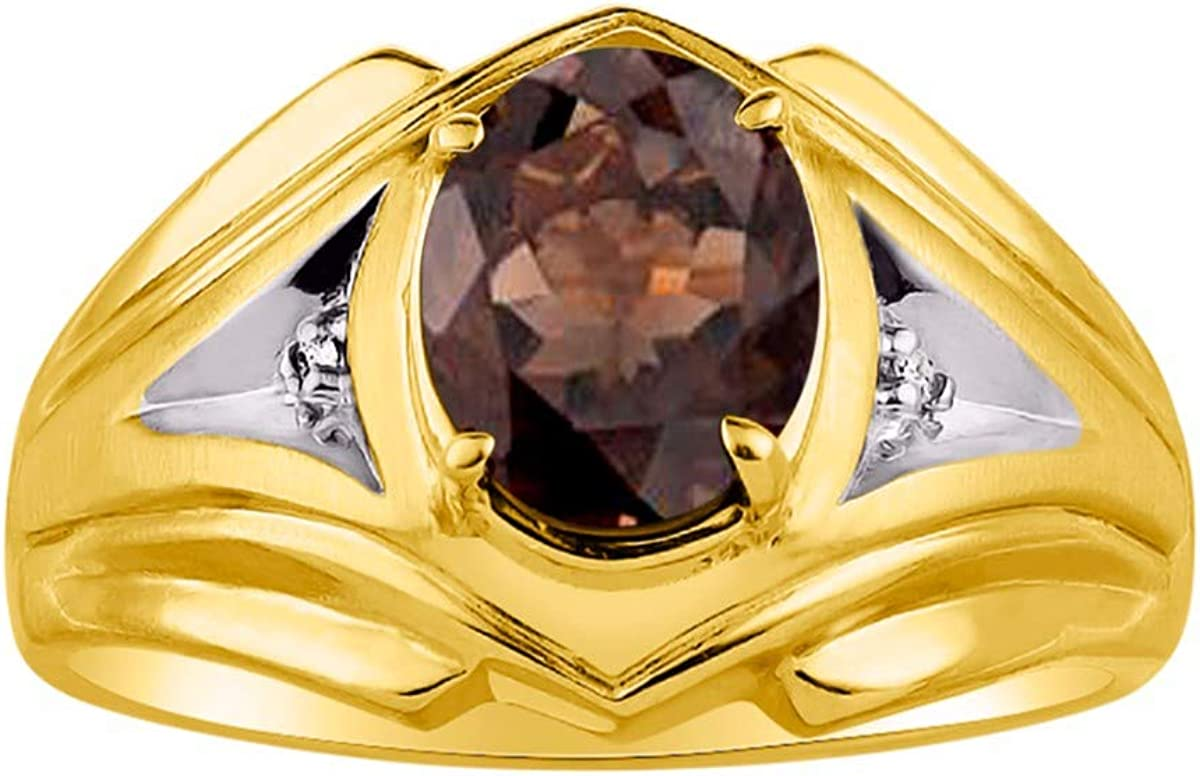 RYLOS Mens Ring with Oval Shape Gemstone /& Genuine Sparkling Diamonds in 14K Yellow Gold Plated Silver .925-9X7MM Color Stone