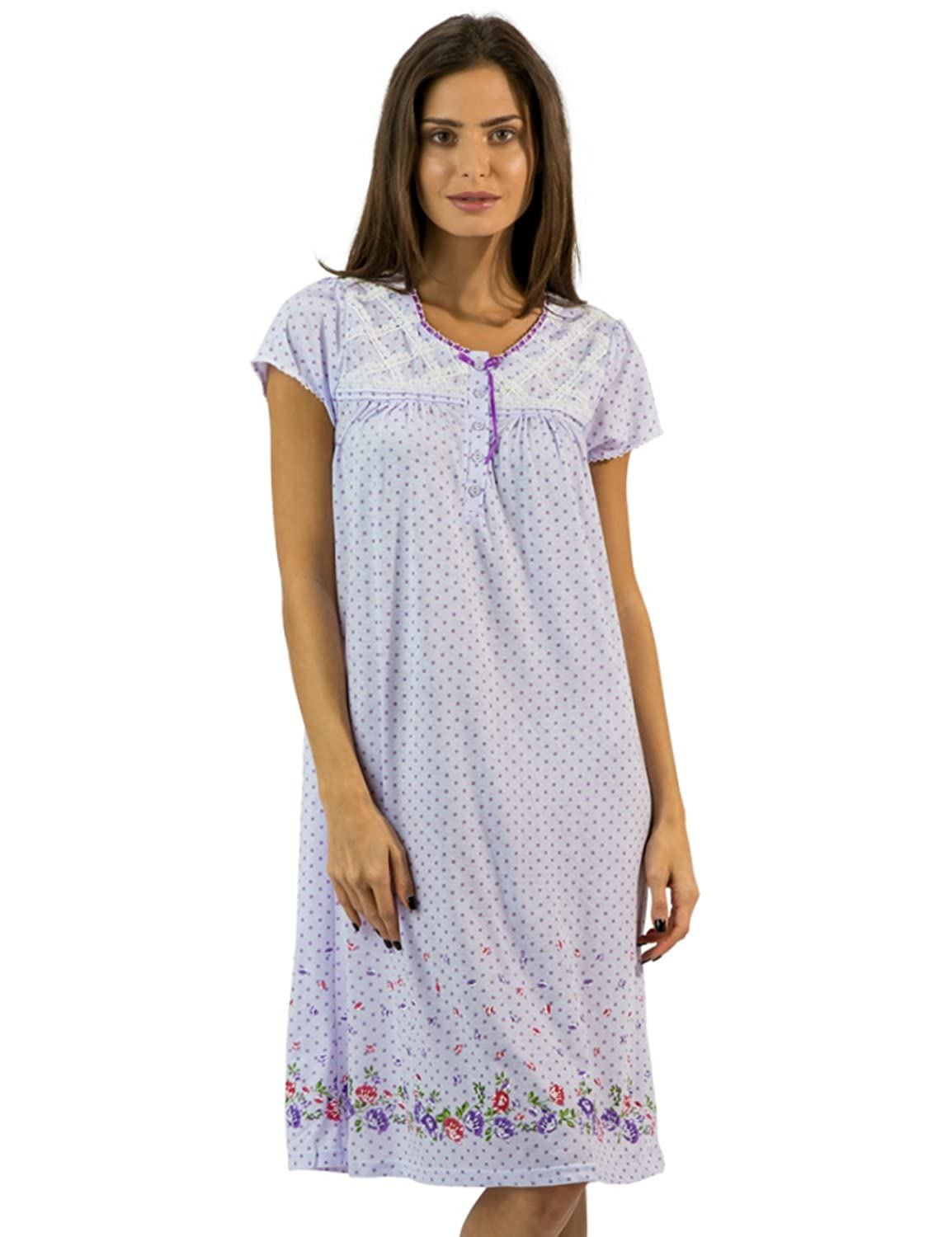 Casual Nights Women's Flowery Short Sleeve Nightgown Cap Sleeves Nightgown
