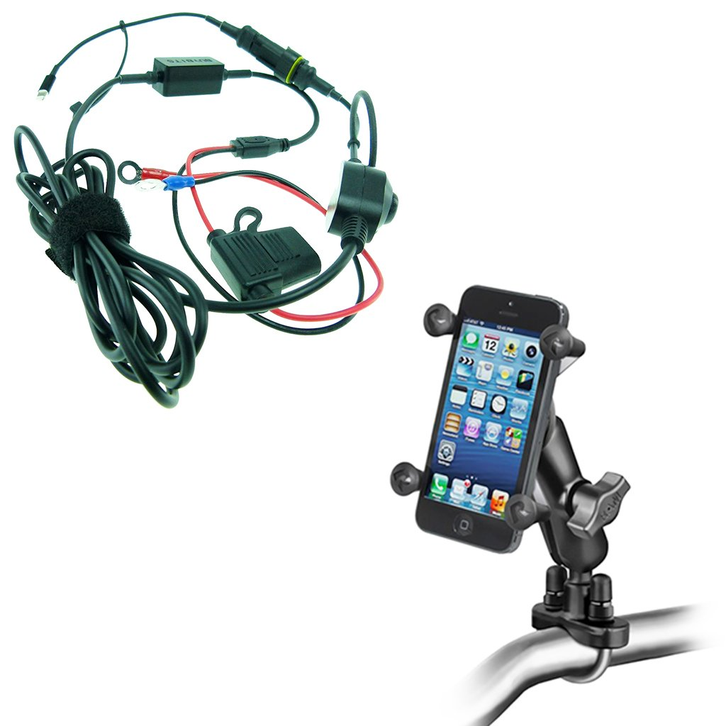 BuyBits High Power Hardwire Charger & Ram X-Grip U-Bolt Bike Mount for iPhone 8 (4.7'')