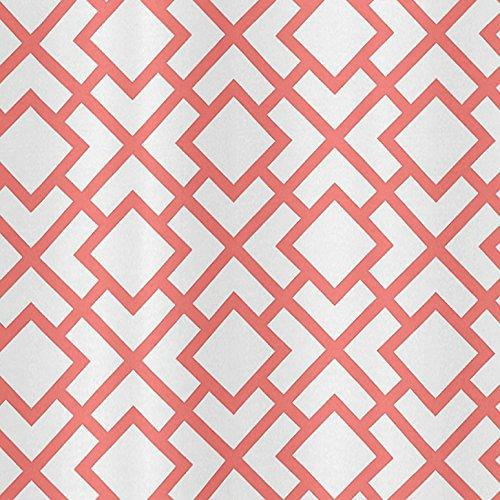 Sweet Jojo Designs Modern White and Coral Diamond Geometric Girls Kids Bathroom Fabric Bath Shower Curtain by Sweet Jojo Designs (Image #2)