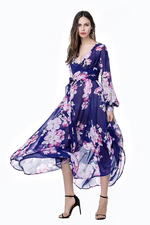 WanYang Damen Lange Ärmel V-Ausschnitt Dünne Oversize Party Strandkleid  Langes Kleid Strand Sundress Plus Size Frauen Sommer: Amazon.de: Bekleidung