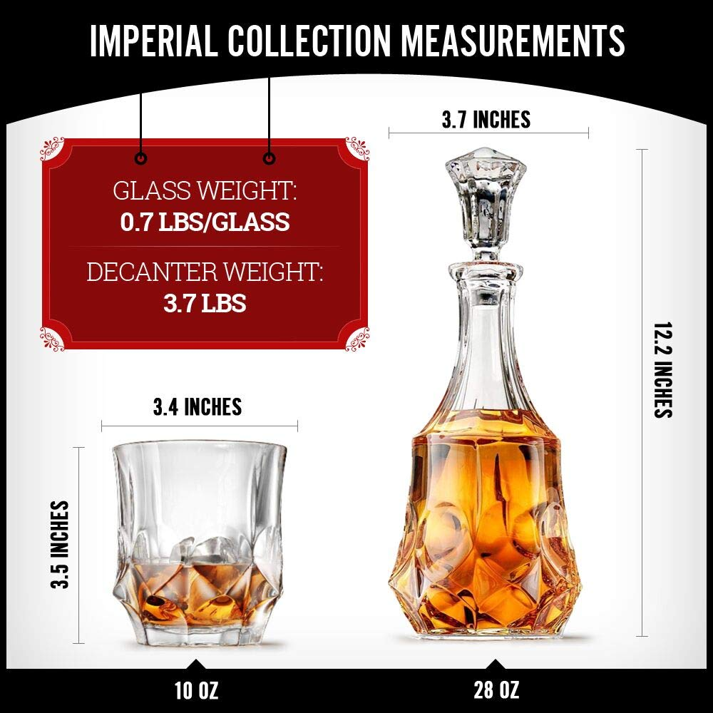 Ashcroft Imperial Whiskey Decanter Set - Lead Free Crystal Glasses for Scotch, Rum, Old Fashioned 5 Piece by Ashcroft Fine Glassware (Image #4)