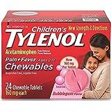 TYLENOL Children's Pain + Fever Chewables Tablets, Bubblegum 24 ea ( Pack of 2)
