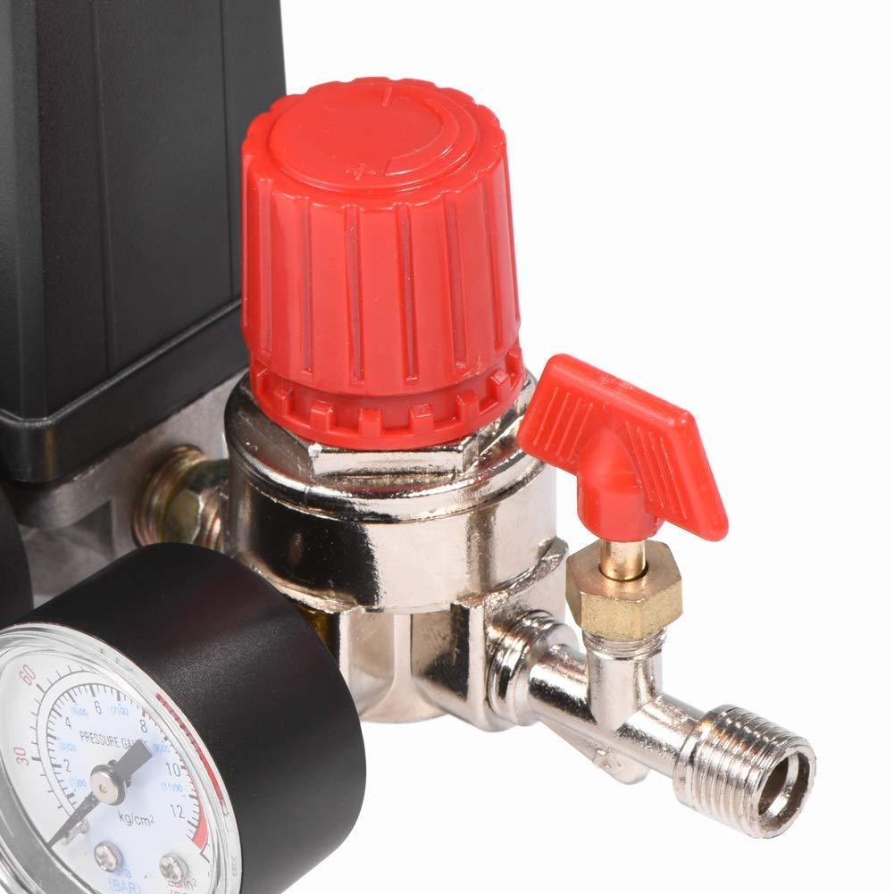 Regulador de v/álvula de control de interruptor de presi/ón de compresor de aire profesional peque/ño con medidores