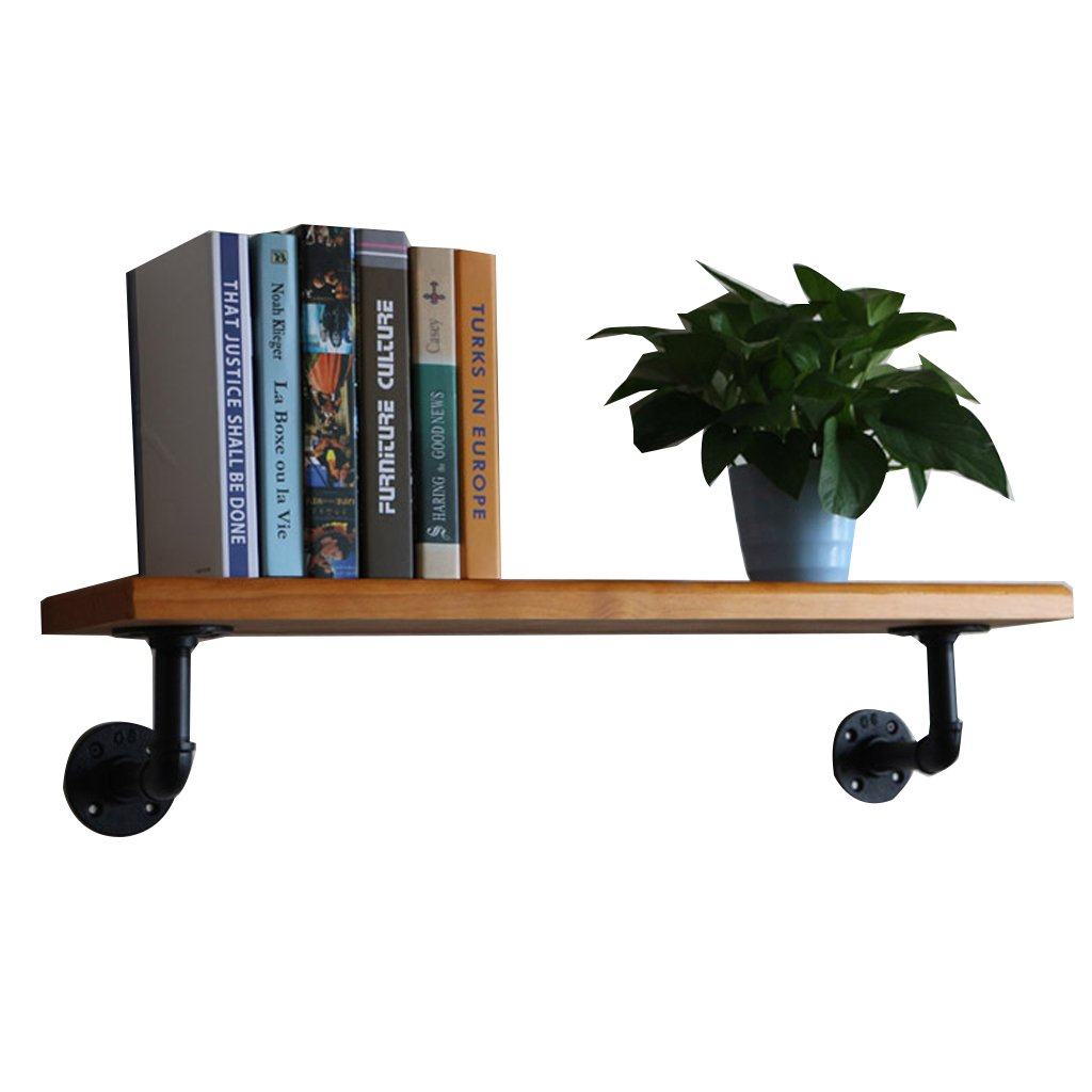 Lil Creative Multifunctional Rack/Vintage Industrial Wind Pipe Wall Shelf/Living Room Solid Wood Decorative Frame/Flower Stand (Size : 40203cm)