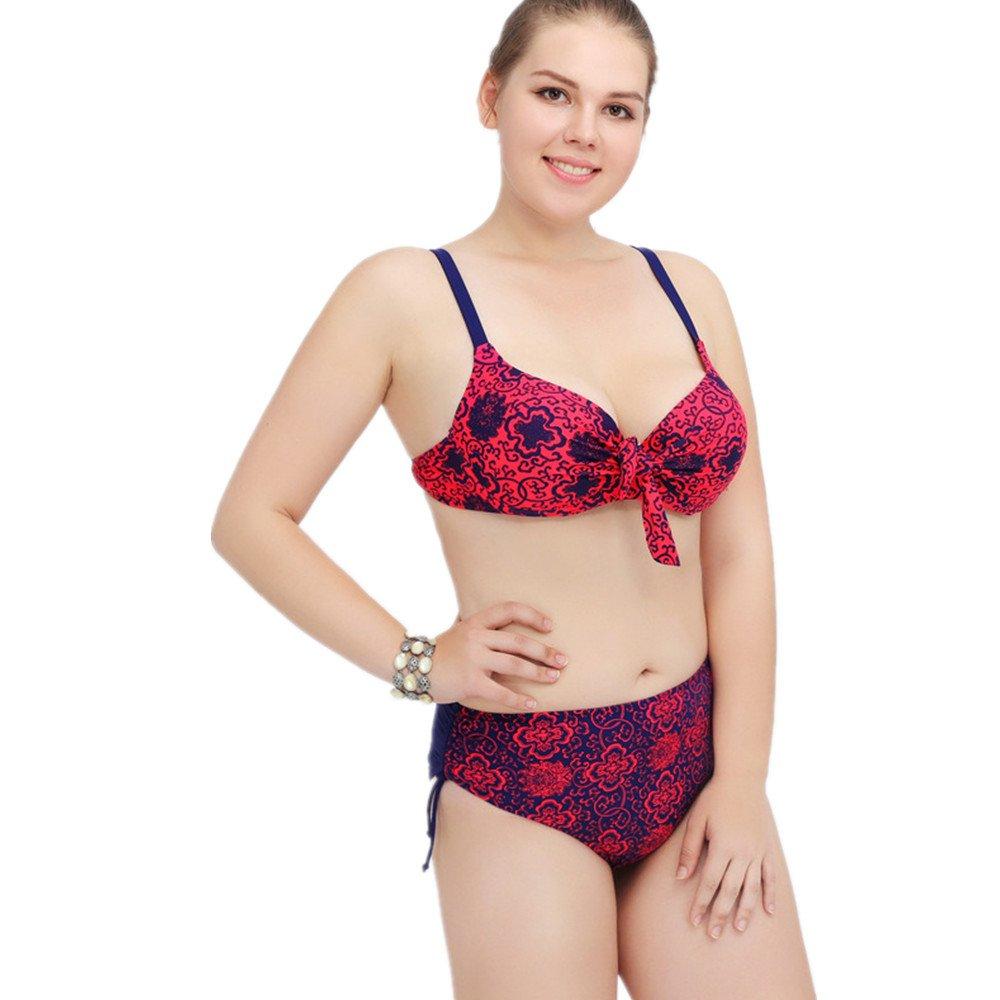 Ms. 水着 印刷 ビキニ 集まる スリーポイント水着 に適して 水泳 ウェディング エクササイズ スパ (Size : XXXL) B07DYV541Y XXXL