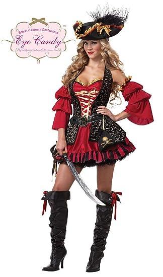 Disfraz Pirata rojo para mujer -Premium S: Amazon.es: Juguetes y ...