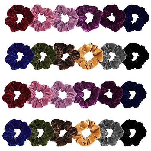 Madholly 24 pieces Velvet Hair Ties, Super Soft Velvet Hair Scrunchies Set, Durable Stay in Place Elastic Velvet Hair Accessories Hair Bands Ropes in 12 Different Colors